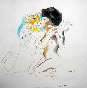 Manuel MONTERO - Peinture - Le baiser du léopard
