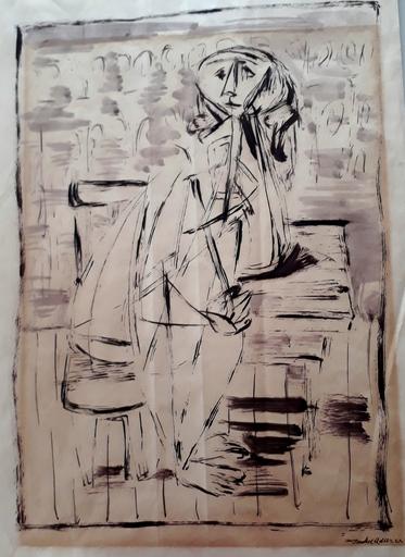 Jankel ADLER - Disegno Acquarello - Figure