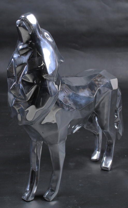 Richard ORLINSKI - Sculpture-Volume - Loup hurlant aluminium