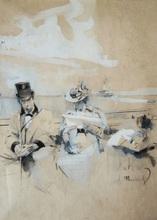 Serafino MACCHIATI - Drawing-Watercolor - En bateau