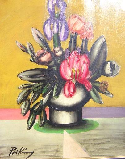 Franz PRIKING - Pittura - Bouquet de fleurs