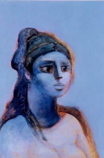 """Roger SOMVILLE - Pintura - Hommage à Barbara (""""Femme en Bleu"""")"""