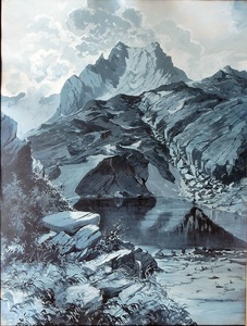 August GEIGER-THURING - Dibujo Acuarela - Lac alpin
