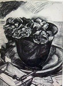 Nathalie GONTCHAROVA, Roses in a cap