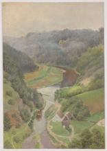 "Hugo SCHEYRER - Painting - ""Alpine Riverscape"", Oil Painting, 1920's"