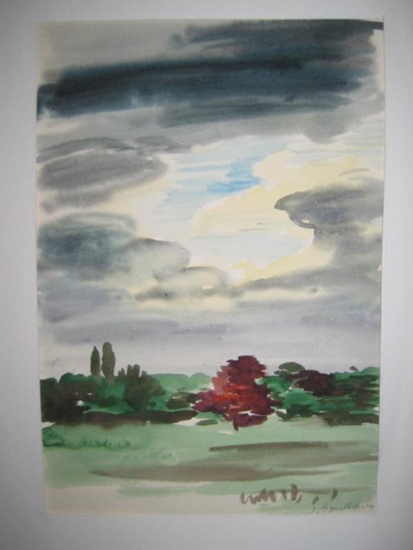 Jacques BOULLAIRE - Dibujo Acuarela - PAYSAGE AU GRAND CIEL