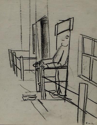 """Edith CAMPENDONK-VAN LECKWYCK - Drawing-Watercolor - """"Man on Deck"""" by Edith Campendonk-van Leckwyck, ca 1925"""