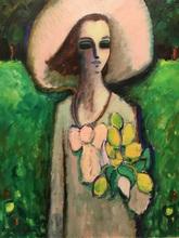 让-皮埃尔•卡西尼尔 - 绘画 - Jeune fille au bouquet de tulipes