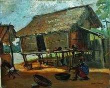Elie MILLER-RANSON - Pintura - Scène africaniste à Saint-Louis du Sénégal
