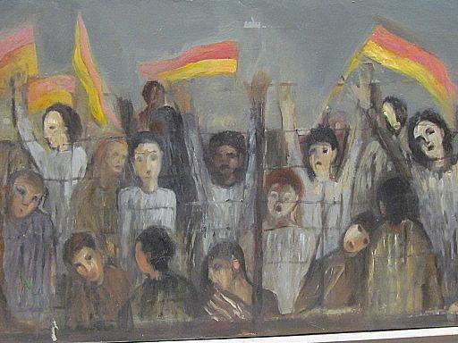 Heinrich SCHILINZKY - Painting - Demonstrationszug hinter Stacheldraht