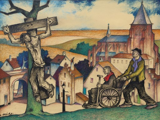 "Raymond DIERICKX - Drawing-Watercolor - ""L'AVEUGLE, LE PARALYTIQUE ET LE CRUCIFIE"""