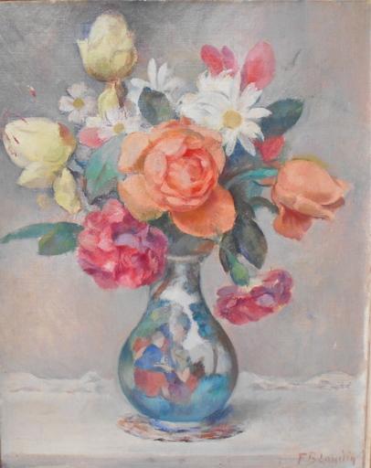 Fernand BLONDIN - Painting - Bouquet de roses dans un vase.