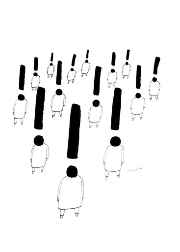 """Jean-Michel FOLON - Zeichnung Aquarell - """"Personnages aux points d'exclamation"""""""