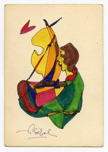 Edgar STOEBEL - Dibujo Acuarela - DESSIN À LA GOUACHE SIGNÉE SIGNED GOUACHE DRAWING