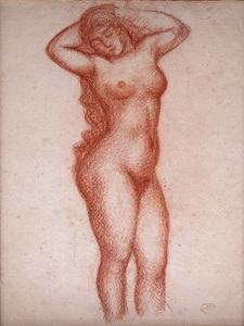 Aristide MAILLOL - Disegno Acquarello - Femme nue debout de face