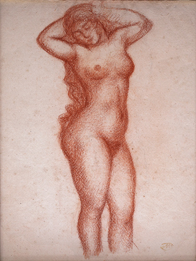 Aristide MAILLOL - Drawing-Watercolor - Femme nue debout de face