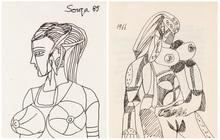 弗朗西斯•牛顿•苏沙 - 水彩作品 - A Pair of Drawings