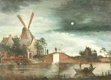 Aert I VAN DER NEER - Painting - Moonlit Landscape
