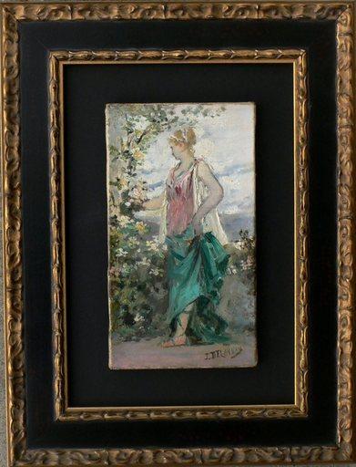 "Elie DELAUNAY - Pintura - "" La jeune fille au buisson fleuri""."