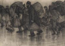 Leo GESTEL - Drawing-Watercolor - Belgium Refugees