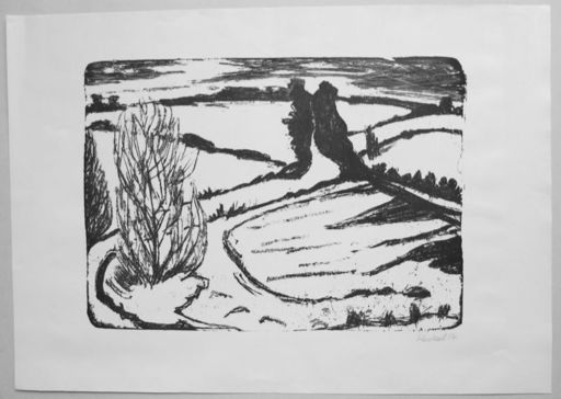 埃里希·黑克尔 - 版画 - Winter in Angeln