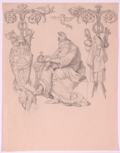 "Alfred RETHEL - Dessin-Aquarelle - ""Nibelungen Illustration"", Drawing"