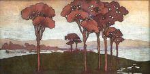 """Jean Roger SOURGEN - Painting - """"Les Landes, le lac d'Hossegor""""  vers 1900-1910"""