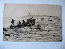 Léon Gabriel COFFINIERES DE NORDECK - Dibujo Acuarela - Pêche à la sardine en bretagne