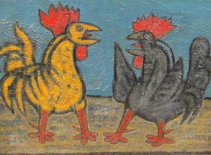 Rolf DIENER - Painting - Der Hahnenkampf