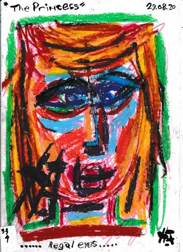 Harry BARTLETT FENNEY - Disegno Acquarello - regal eyes