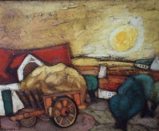 Rob DELANGE - Peinture - Kar voor de boerderij