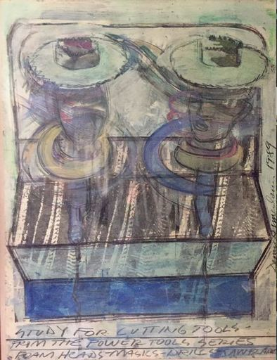 Dennis OPPENHEIM - Drawing-Watercolor - Study for cutting tools