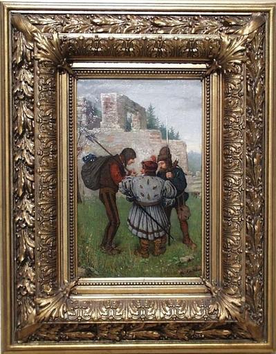"Gemälde - ""Medieval Scene"" , Oil on Canvas, 19th century"