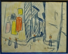 Auguste CHABAUD - Drawing-Watercolor - Sène de rue, circa 1907/1908