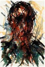 Max UHLIG - Drawing-Watercolor - Bildnisstudie vor Gelb