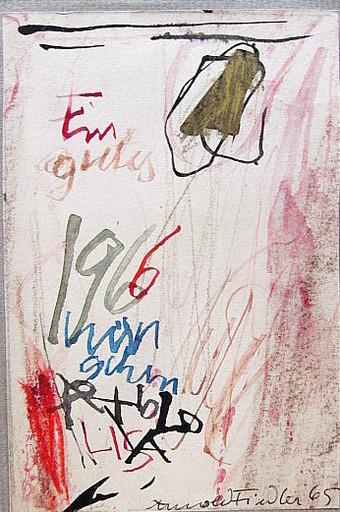 Arnold FIEDLER - Dibujo Acuarela - Neujahrsgruß 1966