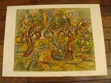 """Pinchus KREMEGNE - Estampe-Multiple - """"Hommage à cézanne""""1970."""