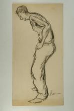 马克西米·卢斯 - 水彩作品 - Homme de face, vu de trois quart, torse nu, les bras tendus