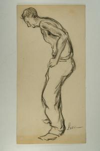 Maximilien LUCE - Drawing-Watercolor - Homme de face, vu de trois quart, torse nu, les bras tendus