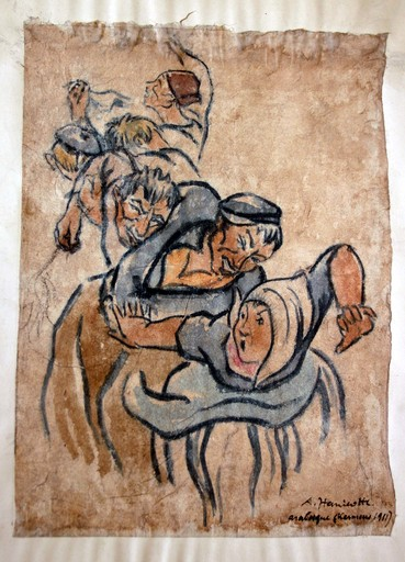 Augustin HANICOTTE - Drawing-Watercolor - Arabesque (kermesse 1911)