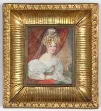 "Karl VON SAAR - Drawing-Watercolor - ""Portrait of a Lady"" very important miniature on ivory, 1832"