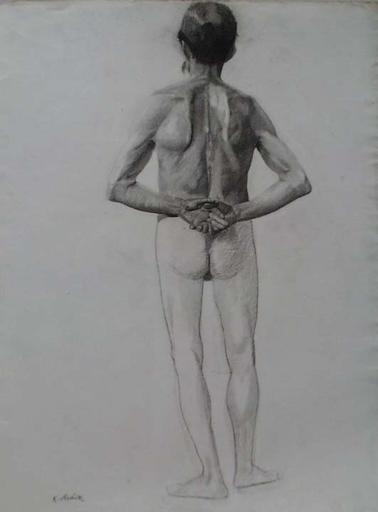 """Karl MEDIZ - 水彩作品 - """"Male Nude"""" by Karl Mediz, ca 1900"""