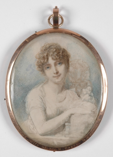 "Richard COSWAY - Drawing-Watercolor - ""Lady Paget"", Important Portrait Miniature on Ivory, ca 1800"