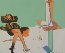 Allen JONES - Grabado -  Young Woman Contemplating Sculpture