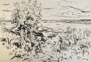 Jules Émile ZINGG - Dibujo Acuarela - Gardien de troupeau en Bretagne