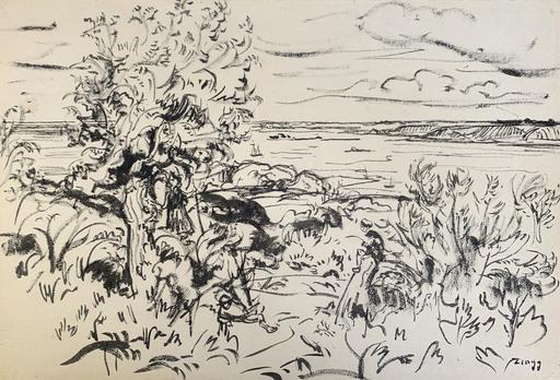 Jules Émile ZINGG - Disegno Acquarello - Gardien de troupeau en Bretagne