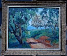 Marcel L. COUCI - Pittura - Chemin à travers un verger vers Gargilesse