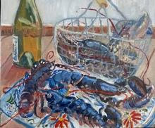 Anne DE LARMINAT - Painting - Homards bleus au plateau
