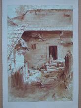 Julius KOMJATI - Dibujo Acuarela - Village Scene