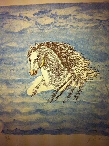 Giorgio DE CHIRICO - Stampa-Multiplo - Testa di cavallo tra le nubi 1971